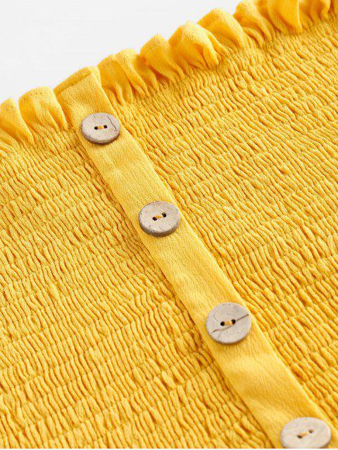 ZAFUL Top de Alças Franzido de Botão Cortado Cortado - Amarelo do Sol S Mobile