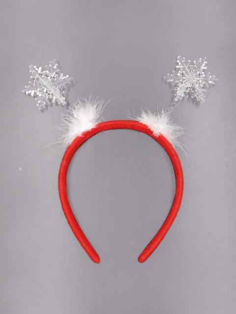 shop Snowflake Pattern Feather Hair Band - RED  Mobile