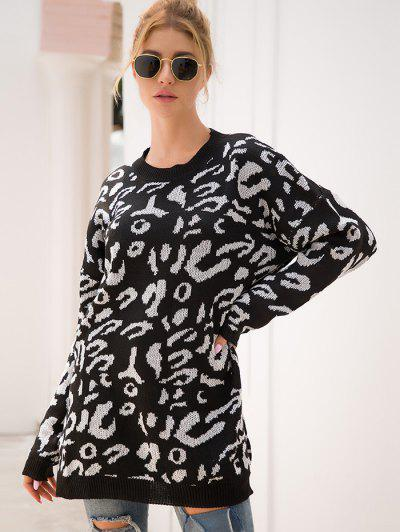 Elk Graphic Christmas Drop Shoulder Tunic Sweater - Black M