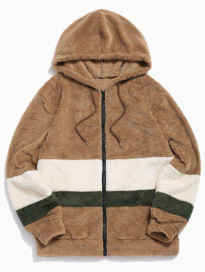 Colorblock Splicing Faux Fur Fluffy Hooded Jacket - Light Khaki L