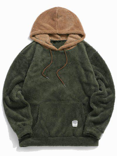 Colorblock Splicing Drawstring Fluffy Hoodie - Army Green M
