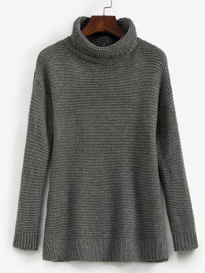 Trutleneck Slit Drop Shoulder Jumper Sweater - Gray S