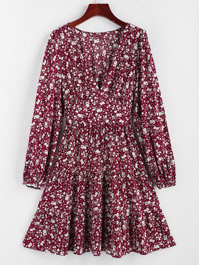 ZAFUL Ditsy Print Plunging Flippy Hem Dress - Red Wine L