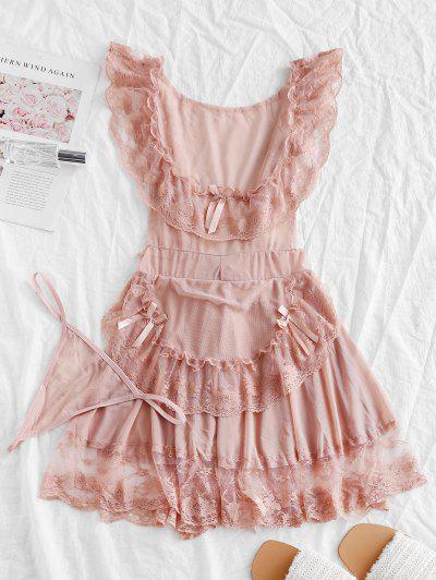 Кружево Сетка С оборкой Нижнее Платье - розовый