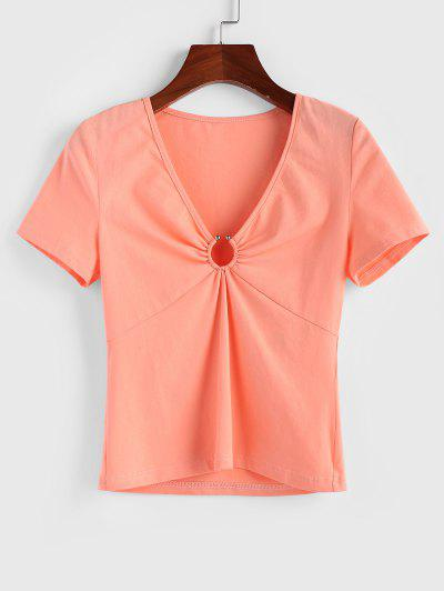 ZAFUL O Ring Plunging Short Sleeve T-shirt - Orange Pink M