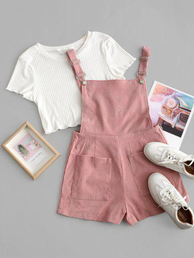 Pockets Corduroy Pinafore Romper With Top - Multi S