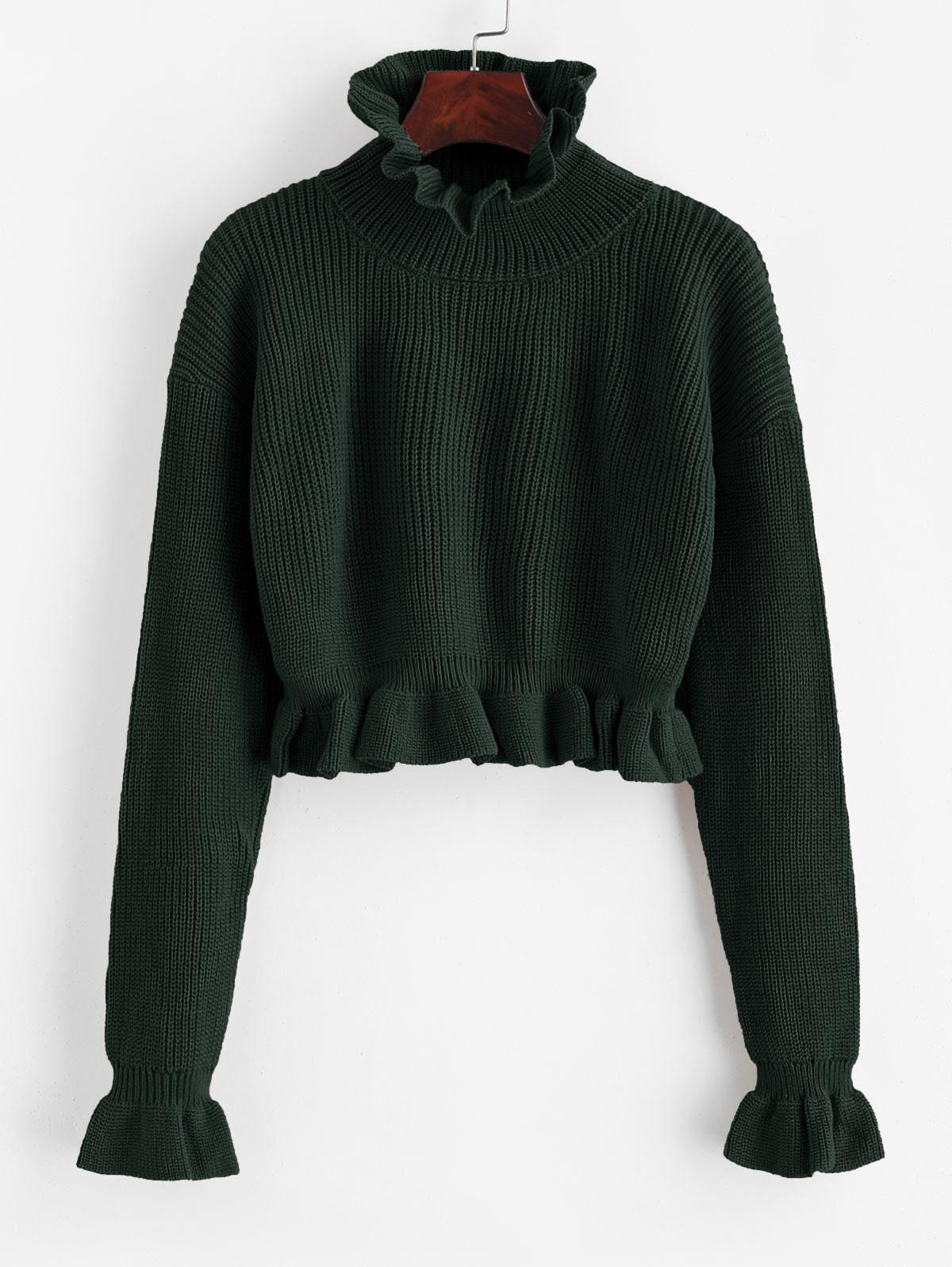 Solid Ruffled Pullover Sweater