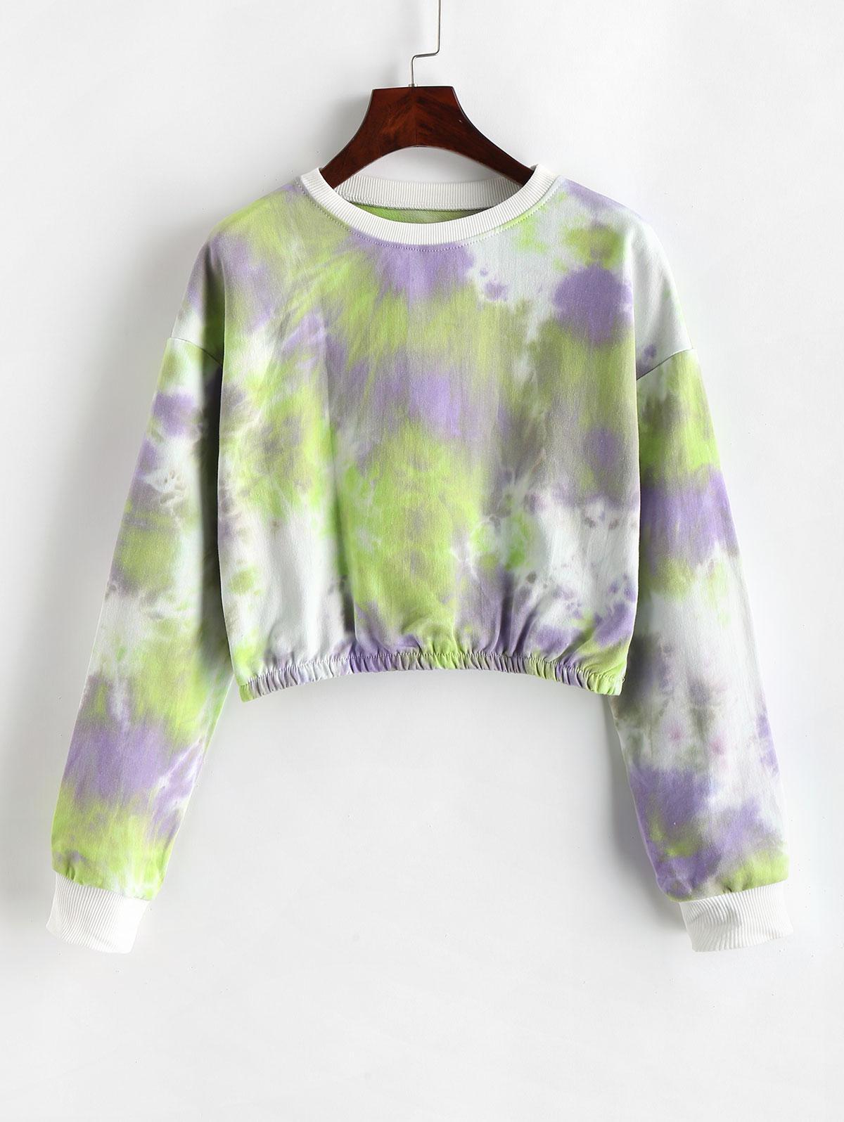 Pullover Cropped Tie Dye Sweatshirt