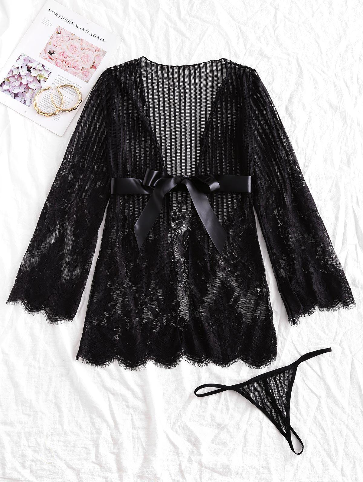 Satin Belt Lace Robe Set