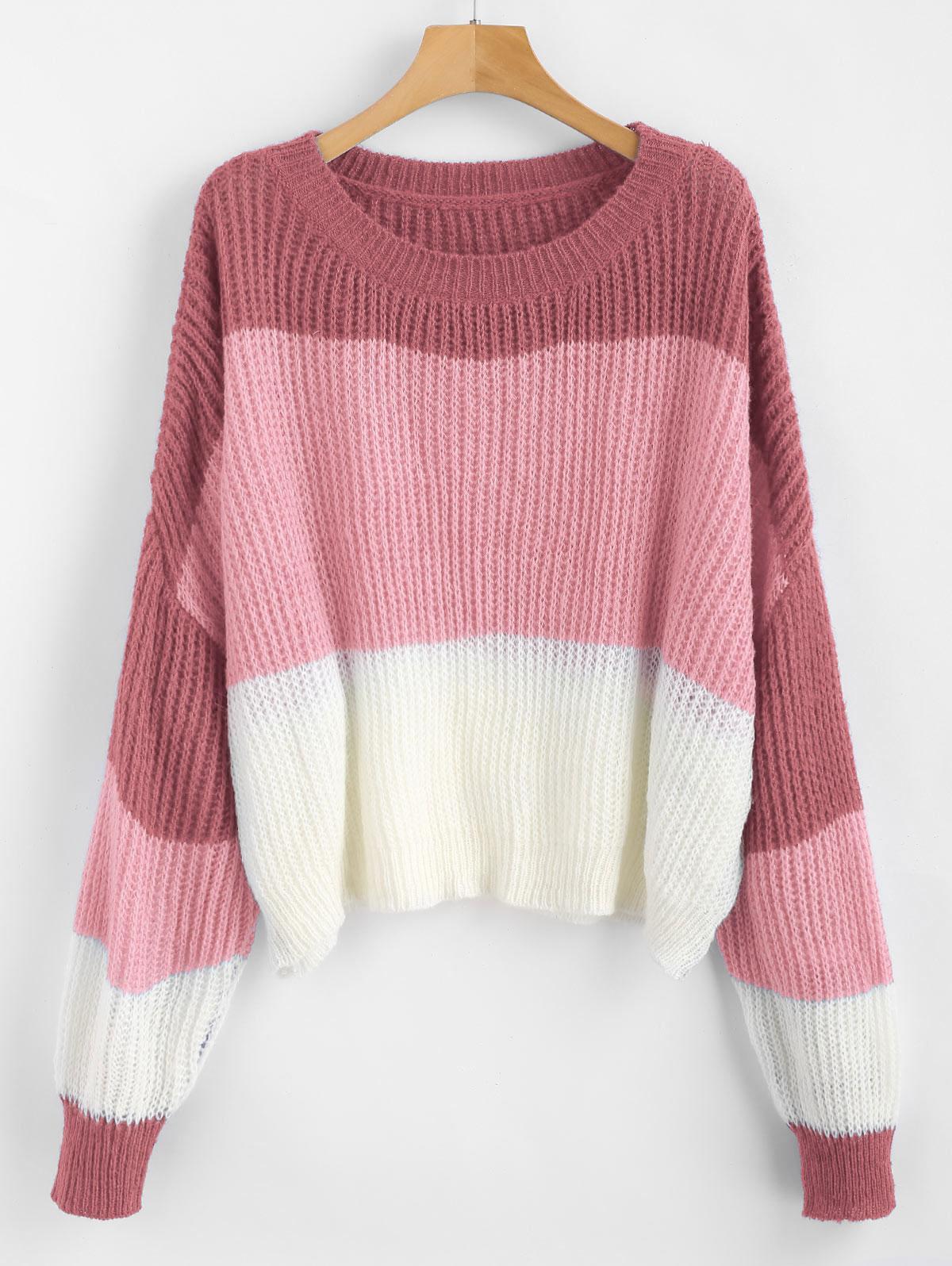 ZAFUL Oversized Stripes Sweater