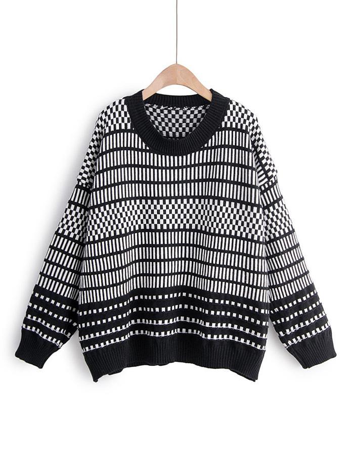 Contrast Geometric Print Drop Shoulder Sweater