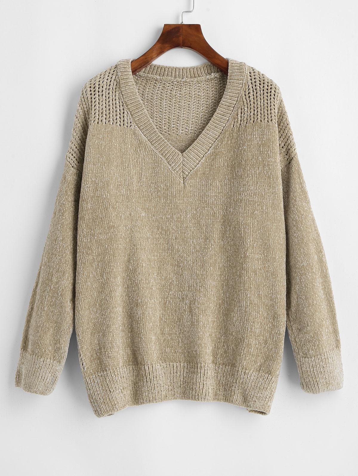 V Neck Chenille Eyelet Jumper Sweater