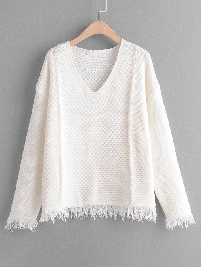 Plain Tassel Hem Drop Shoulder Sweater