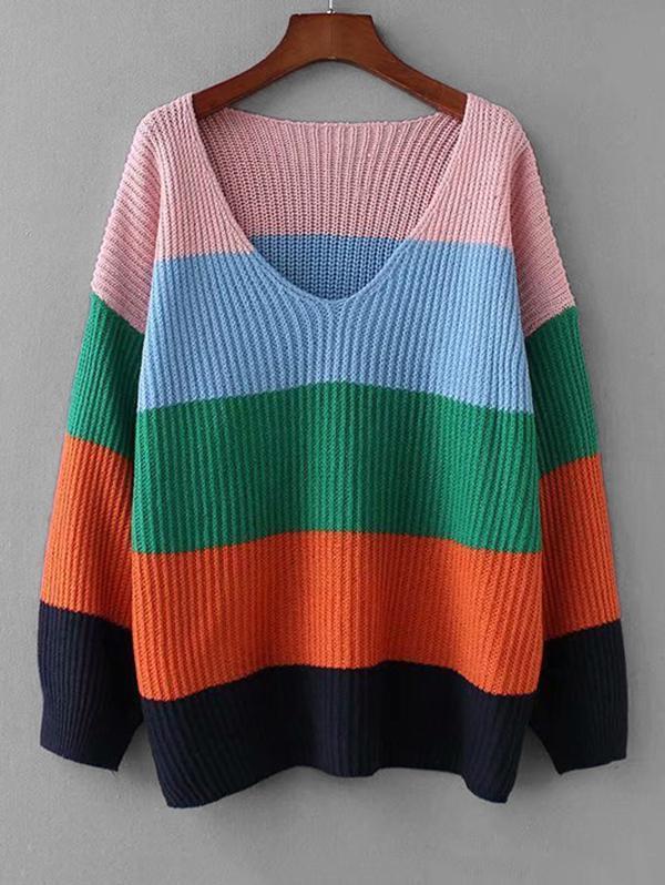Color-blocking Drop Shoulder Knitted Sweater