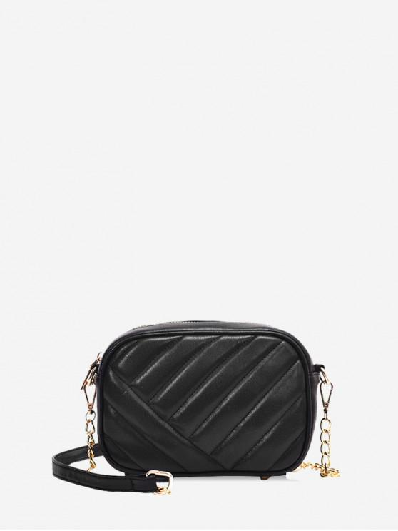 womens Slant Quilted PU Leather Crossbody Bag - BLACK