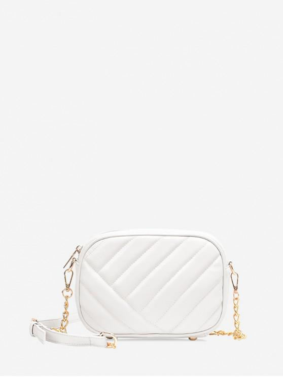 outfits Slant Quilted PU Leather Crossbody Bag - WHITE