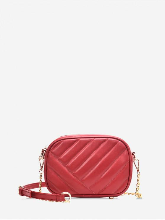 ladies Slant Quilted PU Leather Crossbody Bag - RED