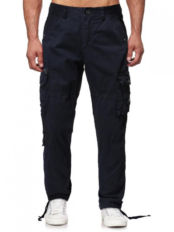 chic Multi Flap Pockets Solid Long Straight Cargo Pants - CADETBLUE 32
