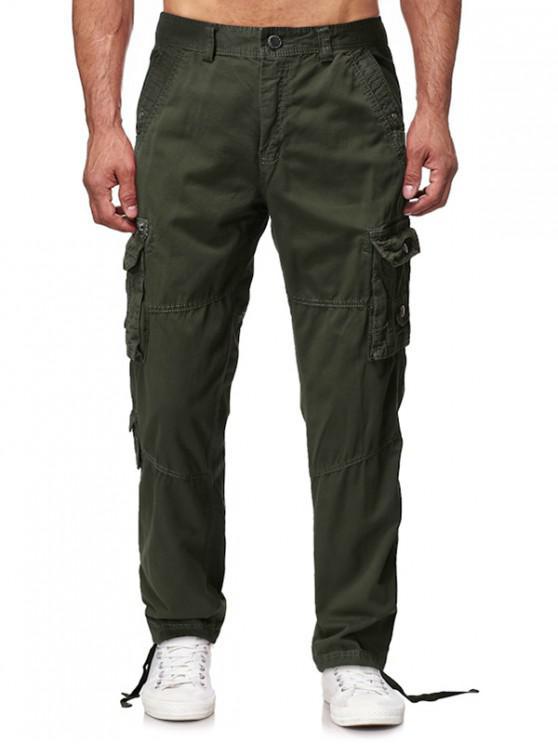 Clapeta de mai multe buzunare lungi Pantaloni Cargo drepte solide - Armata verde 36