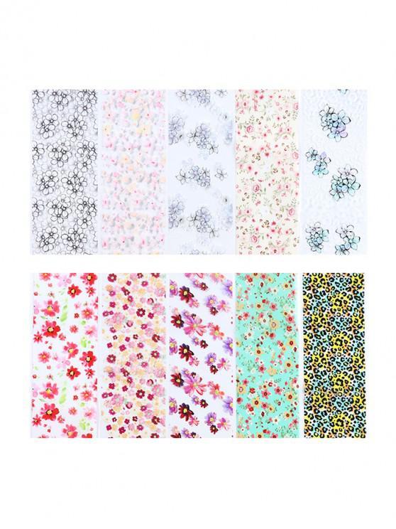 10Pcs Pegatinas Decorativas de Uñas de Patrón de Leopardo de Flor Pequeña - Multicolor-A