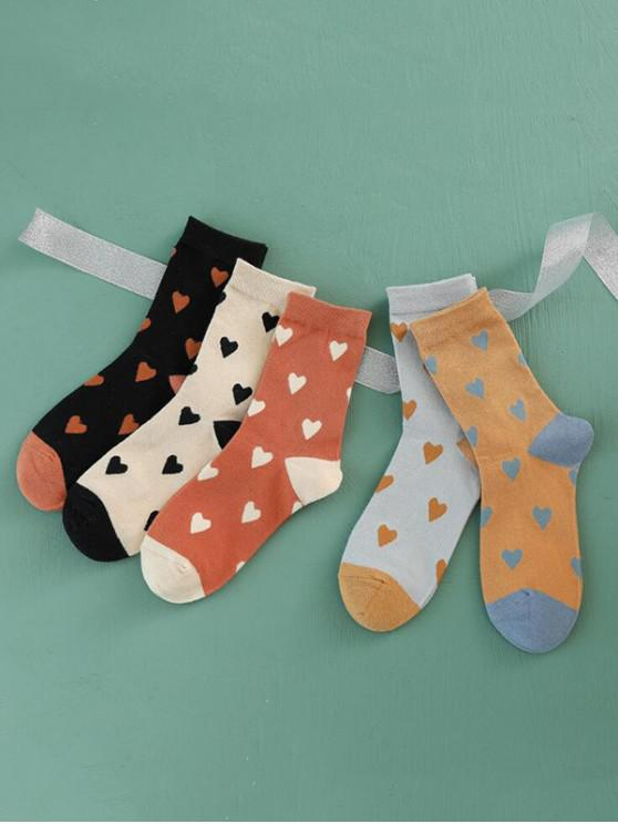 shop 5 Pairs Heart Print Colorblock Socks Set - MULTI-A