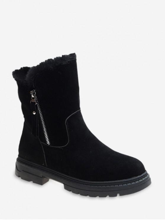 best Fuzzy Trim Suede Chunky Heel Mid Calf Boots - BLACK EU 37