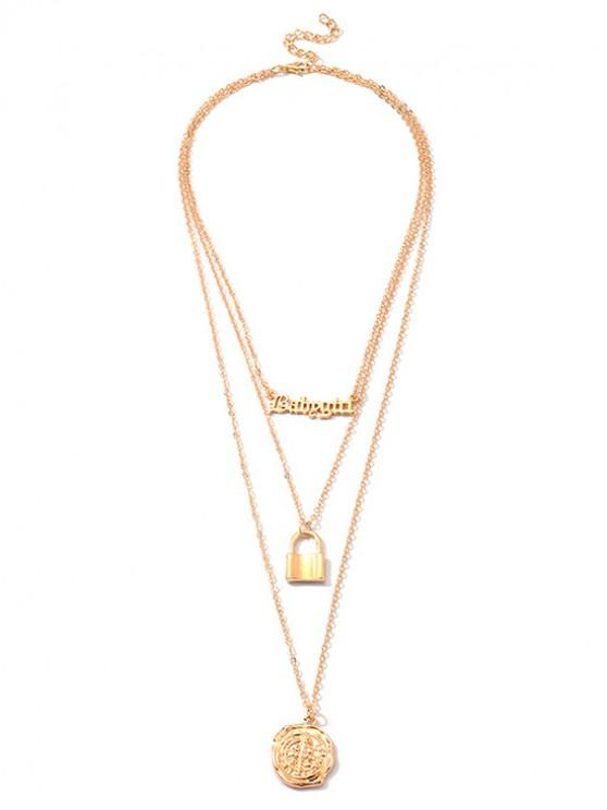 unique Letter Lock Pendant Layered Necklace - GOLD