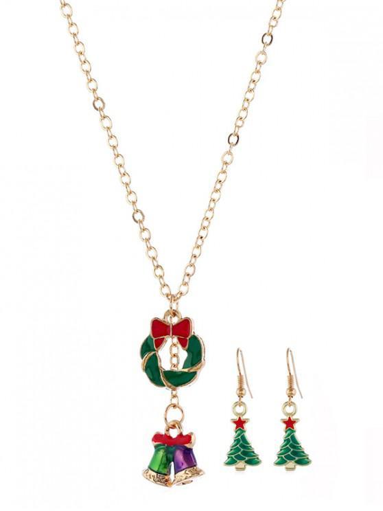 聖誕樹項鍊耳環套裝 - 金