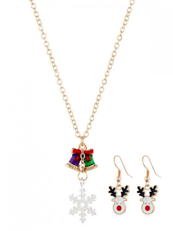 ladies Christmas Elk Snowflake Bell Jewelry Set - GOLD