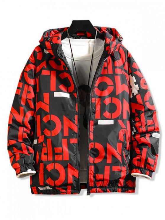レターグラフィックプリントラグランスリーブフードキルティングジャケット - 赤 3XL