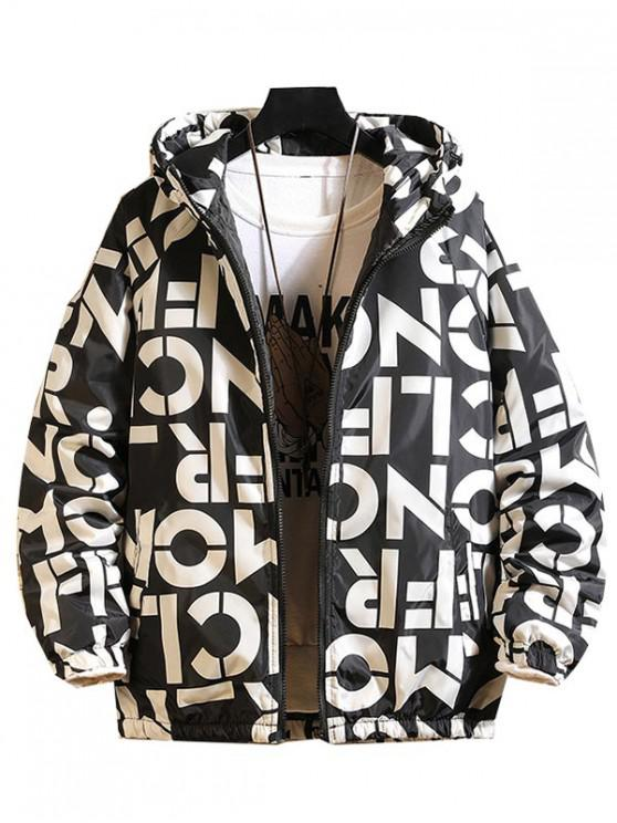 trendy Letter Graphic Print Raglan Sleeve Hooded Quilted Jacket - BLACK L