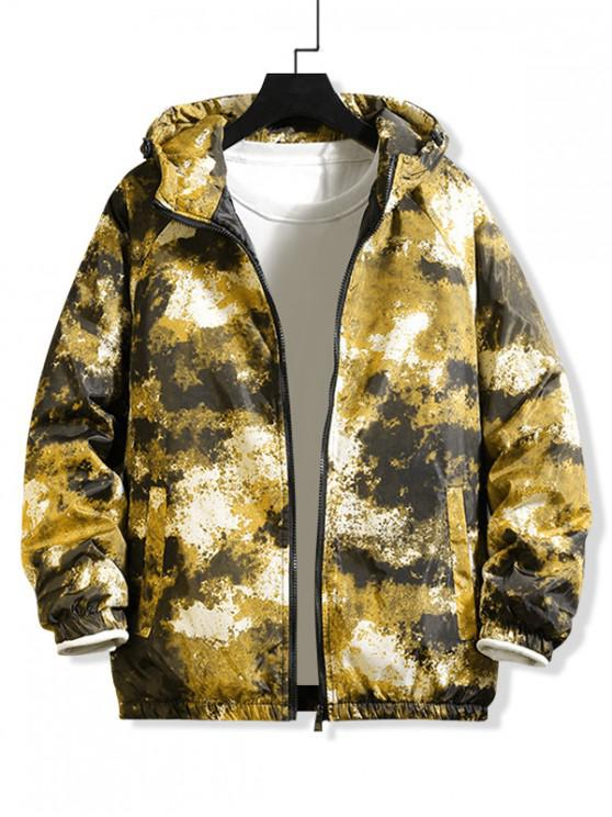 outfit Raglan Sleeve Camouflage Print Hooded Quilted Jacket - YELLOW XL