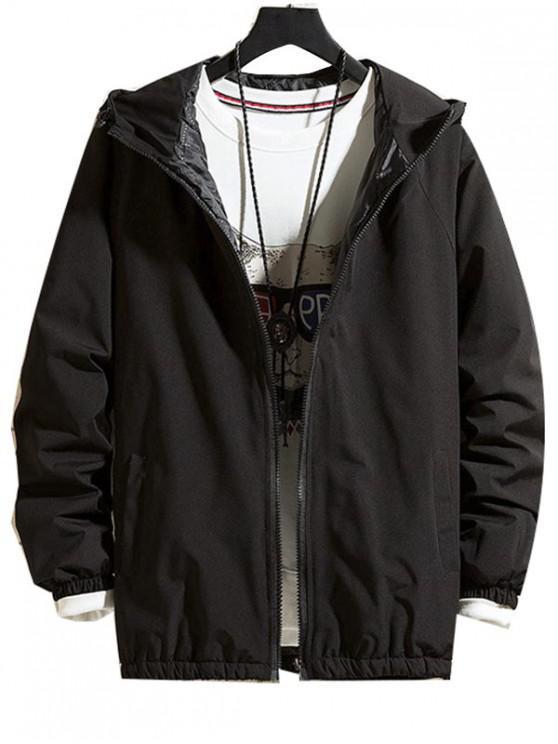 trendy Solid Hood Raglan Sleeve Quilted Jacket - BLACK M