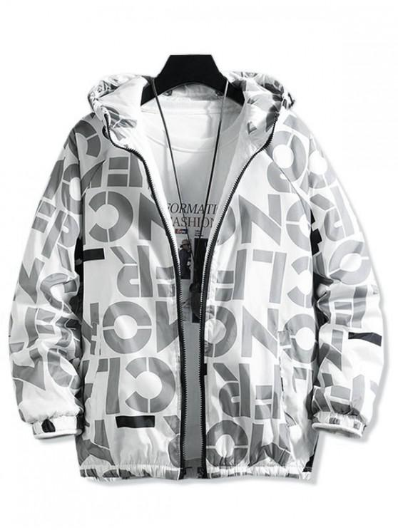 fancy Letter Graphic Print Raglan Sleeve Hooded Quilted Jacket - GRAY L