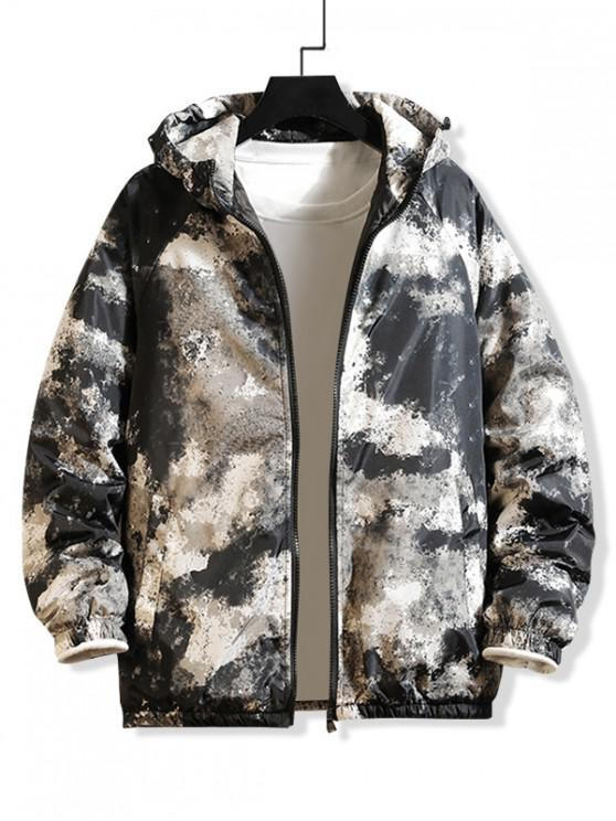 unique Raglan Sleeve Camouflage Print Hooded Quilted Jacket - GRAY M