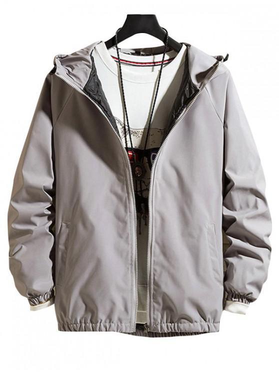 hot Solid Hood Raglan Sleeve Quilted Jacket - GRAY M