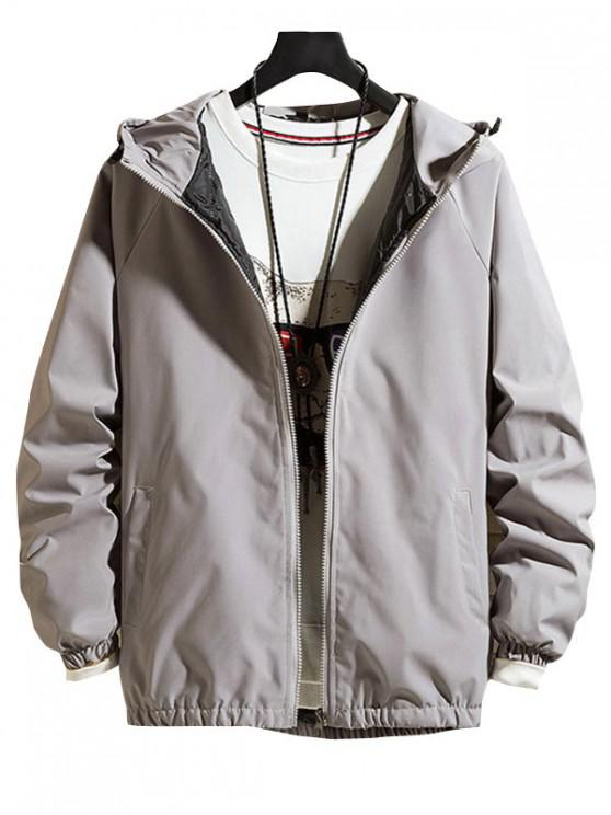unique Solid Hood Raglan Sleeve Quilted Jacket - GRAY 4XL