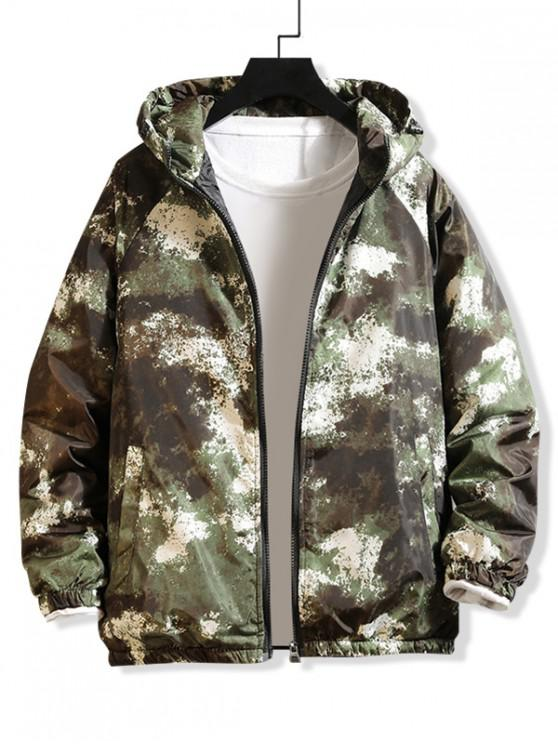 shops Raglan Sleeve Camouflage Print Hooded Quilted Jacket - GREEN M