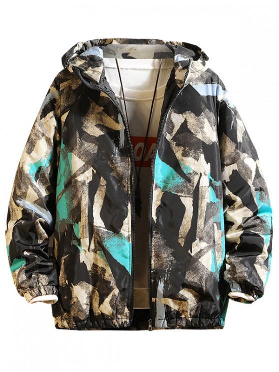 buy Painting Print Raglan Sleeve Hooded Quilted Jacket - GRAY 2XL