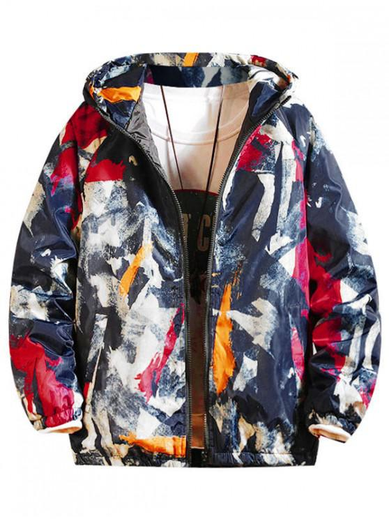 women Painting Print Raglan Sleeve Hooded Quilted Jacket - BLUE 2XL