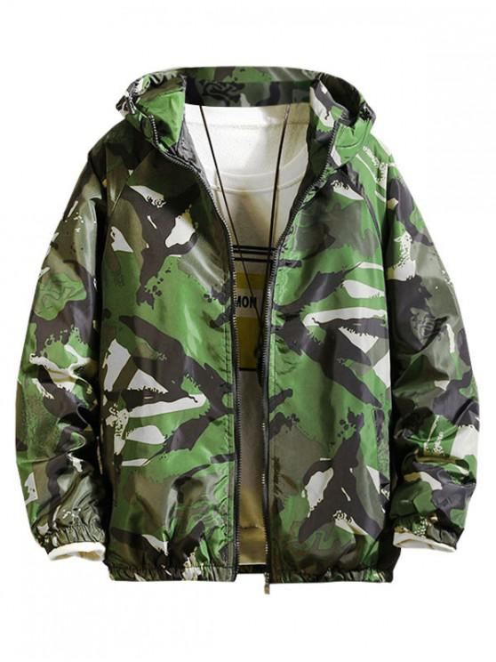 women's Painting Print Raglan Sleeve Hooded Quilted Jacket - GREEN L