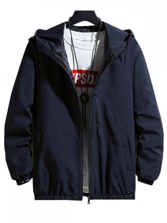 best Solid Hood Raglan Sleeve Quilted Jacket - BLUE M