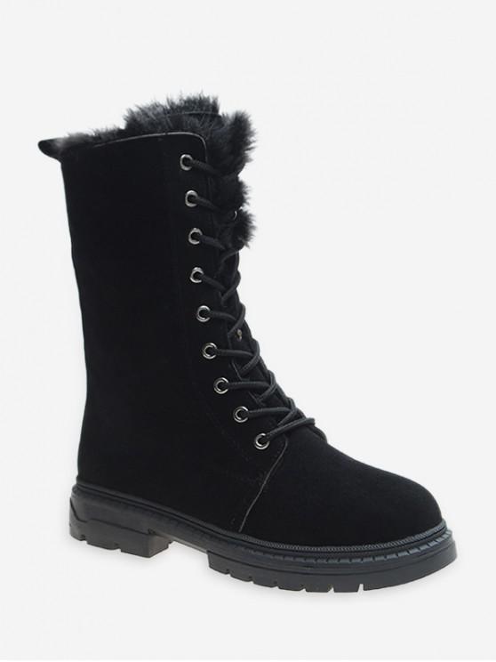 hot Fuzzy Trim Lace Up Mid Calf Boots - BLACK EU 38
