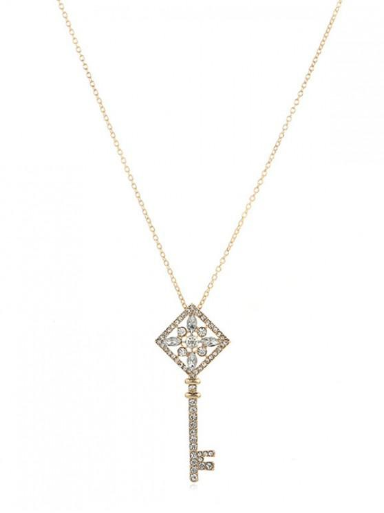 latest Rhinestone Key Pendant Chain Necklace - GOLD