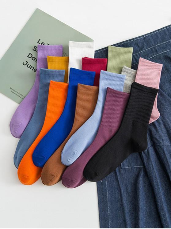 fancy 14 Pairs Solid Sports Socks Set - MULTI-A