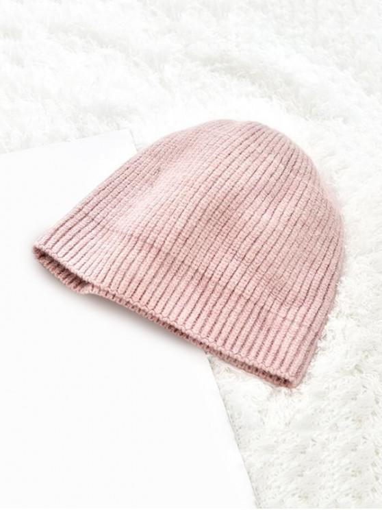 Chapeau d'Hiver Tricoté en Couleur Unie - Rose