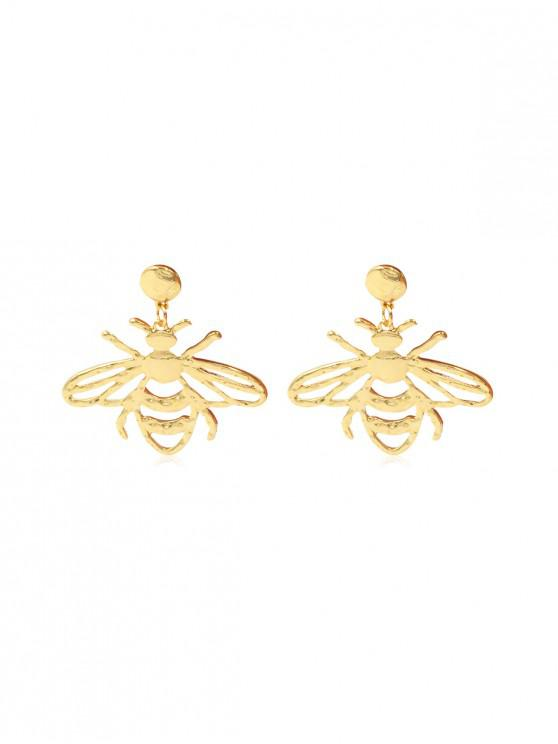 affordable Hollow Out Bee Drop Earrings - GOLD