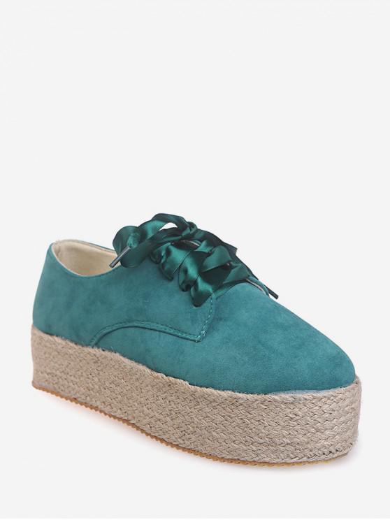 new Low Top Espadrille High Platform Shoes - GREEN EU 40