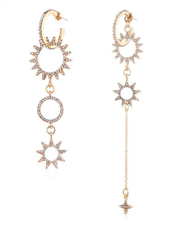 latest Star Rhinestone Asymmetric Dangle Earrings - GOLD