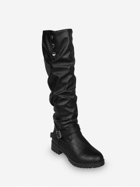 women's Ruched Chunky Heel Fleece Knee High Boots - BLACK EU 43